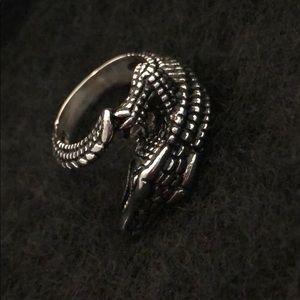 Jewelry - SILVER  & BLACK ALLIGATOR RING NWOT